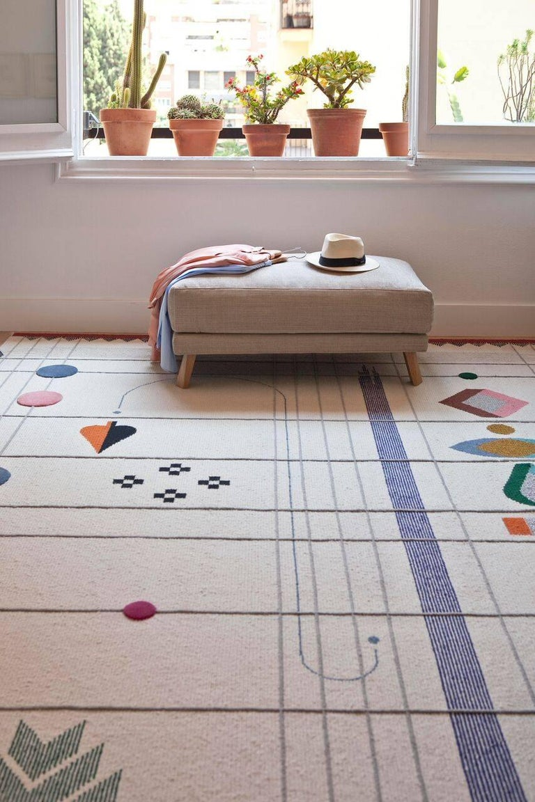 Hand-Crafted Rabari 1 Large Hand-Knotted and Loomed Wool Rug by Nipa Doshi & Jonathan Levien For Sale