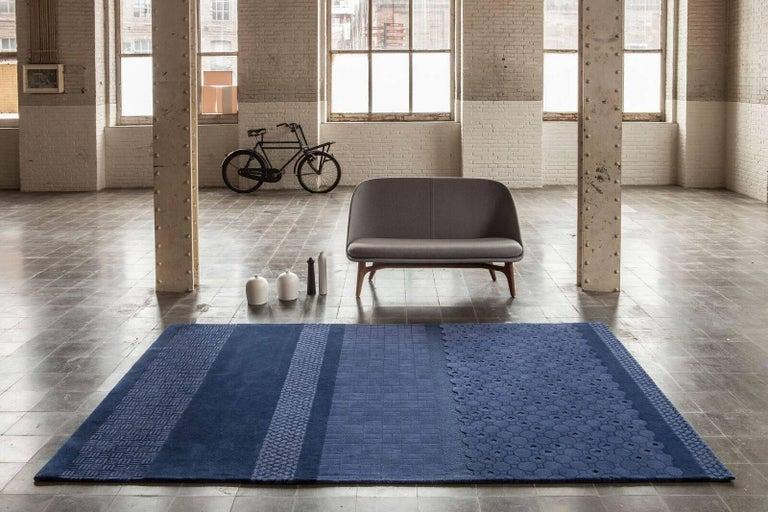 Indian Blue Jie Hand-Tufted Wool Area Rug by Neri & Hu Medium For Sale