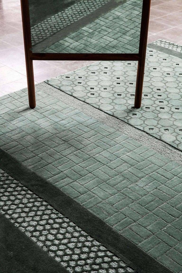 Modern Celadon Jie Hand-Tufted Wool Area Rug by Neri & Hu Medium For Sale