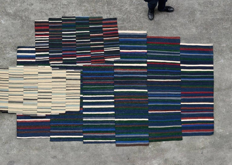Hand-Crafted Lattice One Hand-Loomed Afghan Wool Rug by Ronan & Erwan Bouroullec Small For Sale