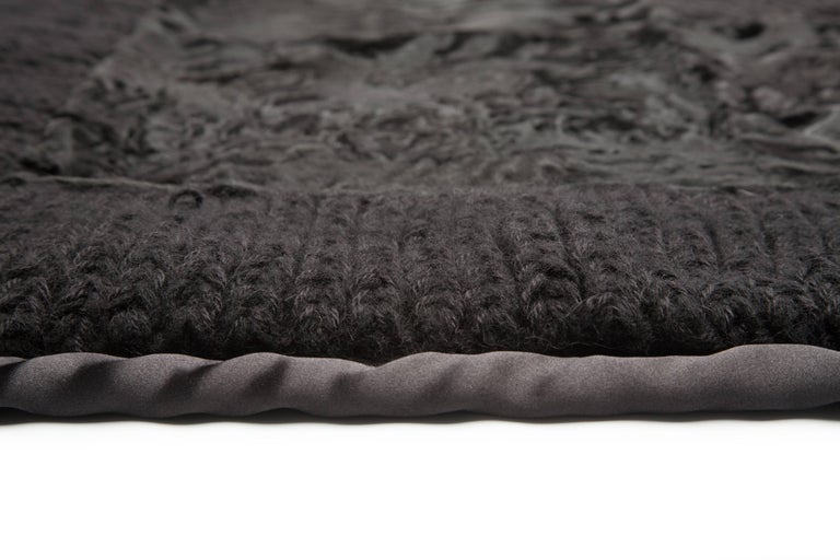 Modern Natural Black Cashmere Wool & Recycled Astrakhan Fur Clean Cover Throw Blanket For Sale