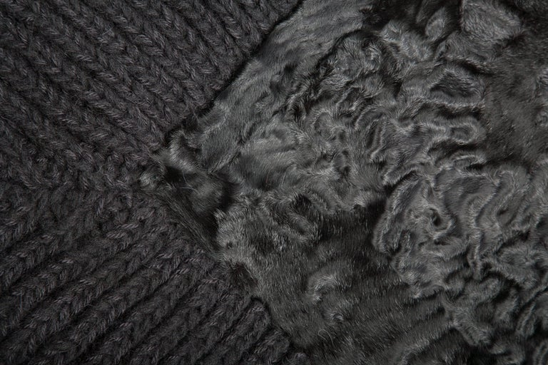 Italian Natural Black Cashmere Wool & Recycled Astrakhan Fur Clean Cover Throw Blanket For Sale