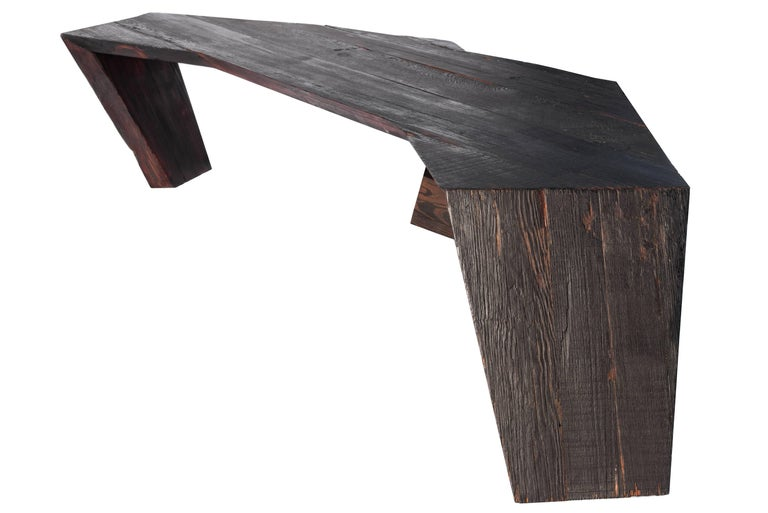 Contemporary Stealth Coffee Table in Recycled & Locally Found 19th Century Italian Larch Wood For Sale