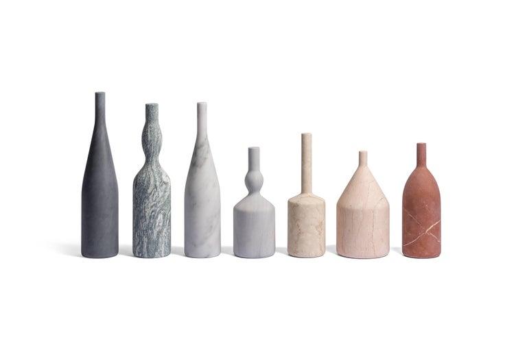 Italian Salvatori Omaggio a Morandi Bottle Sculpture in Rosa Perlino by Elisa Ossino For Sale