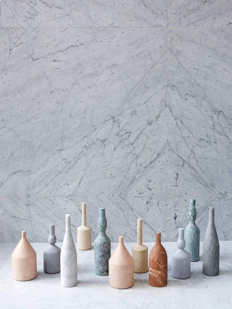 Contemporary Salvatori Omaggio a Morandi Bottle Sculpture in Rosa Perlino by Elisa Ossino For Sale
