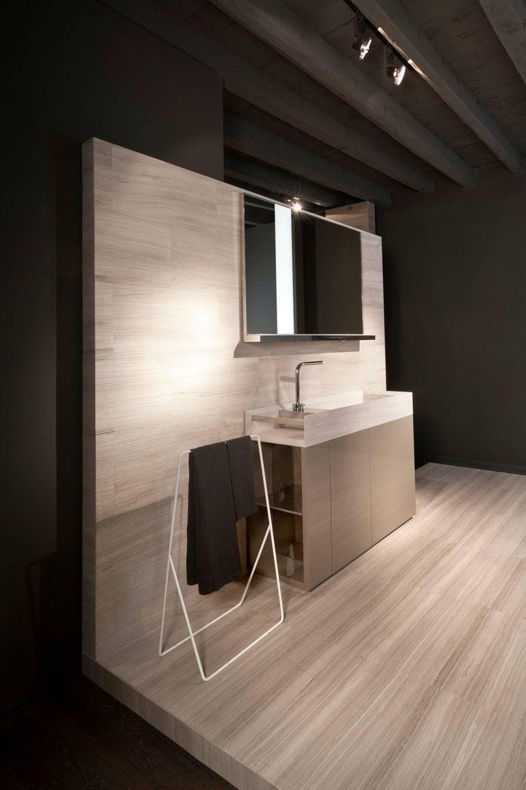 Italian Salvatori Onsen Cabinet Basin in Crema d'Orcia Natural Stone by Rodolfo Dordoni For Sale