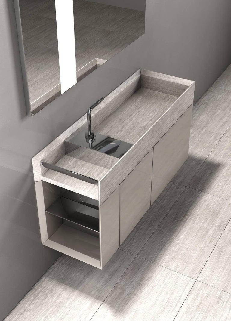 Modern Salvatori Onsen Cabinet Basin in Crema d'Orcia Natural Stone by Rodolfo Dordoni For Sale