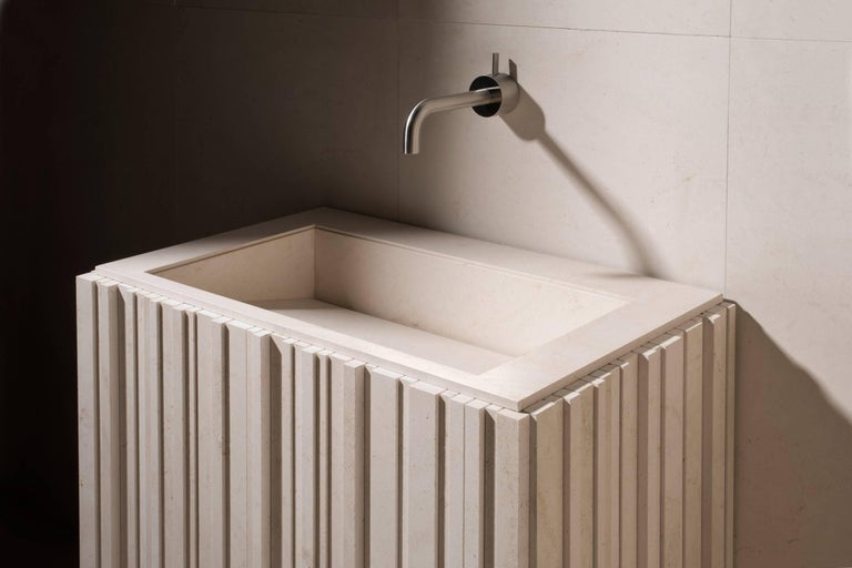 Modern Salvatori Ishiburo Basin in Crema d'Orcia Natural Stone by Kengo Kuma For Sale