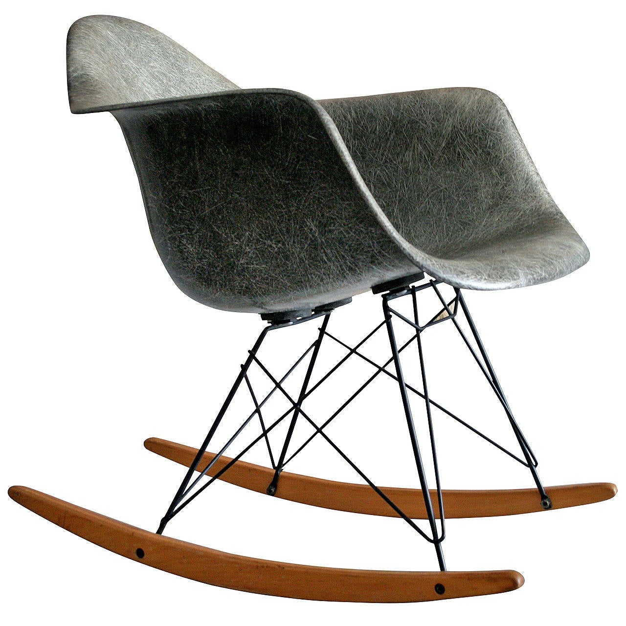 Rar rocking chairs eames style rar rocking arm chair grey - 1950 S Eames Zenith Rar Elepnat Hide Grey Rocker 1