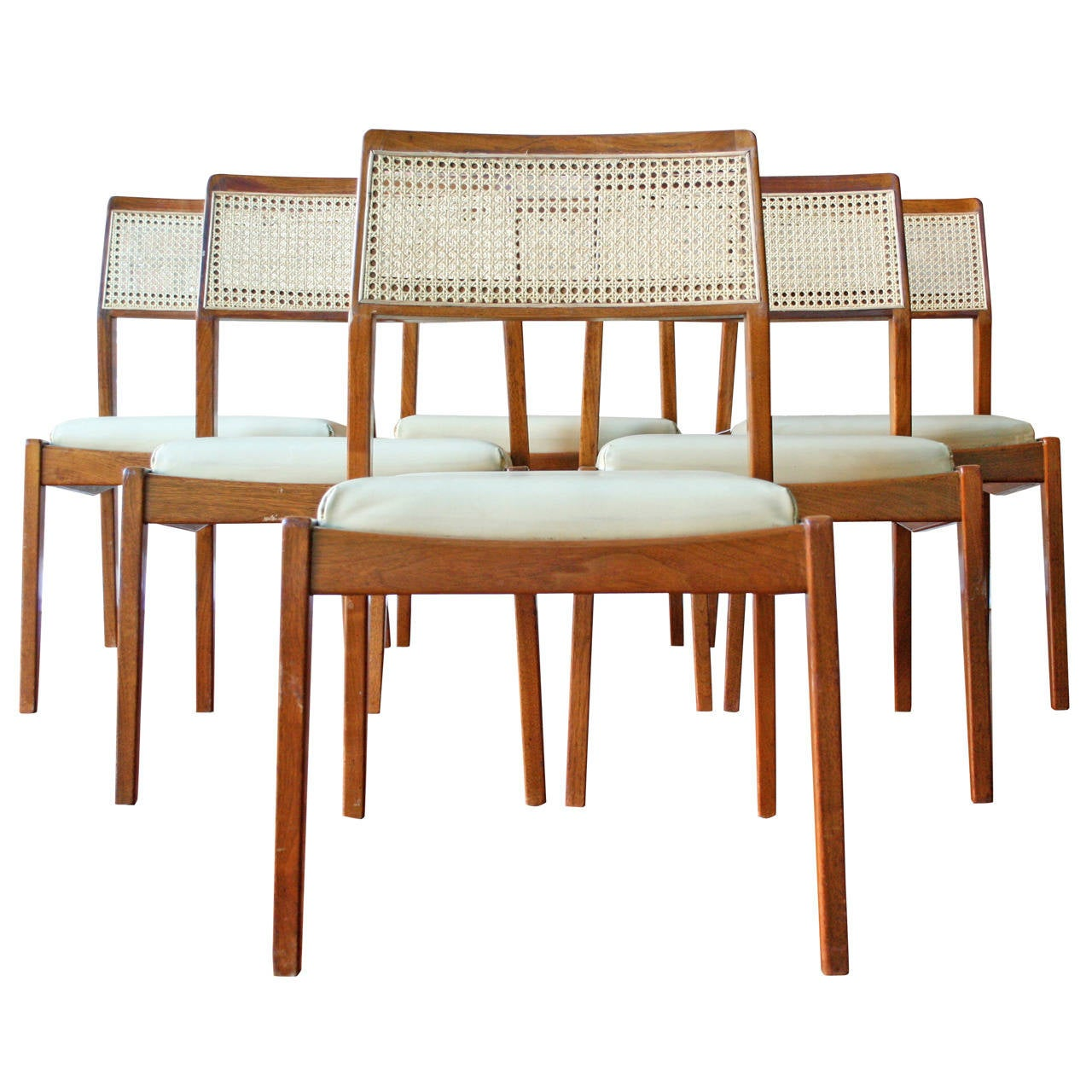 Set of six walnut 39 payboy 39 dining chairs by jens risom at 1stdibs - Jens risom dining chairs ...
