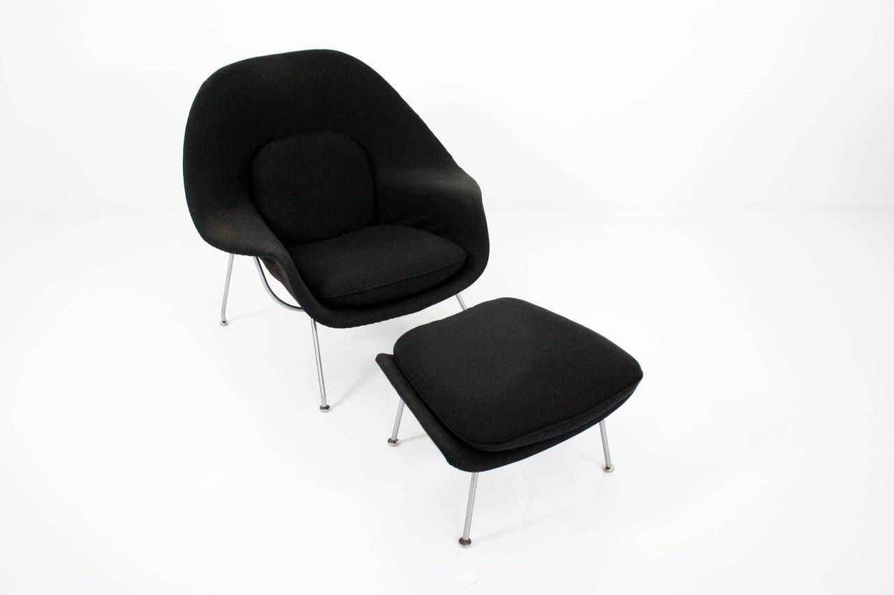Eero Saarinen Womb Chair and Ottoman in Grey Knoll Cato Fabric 1