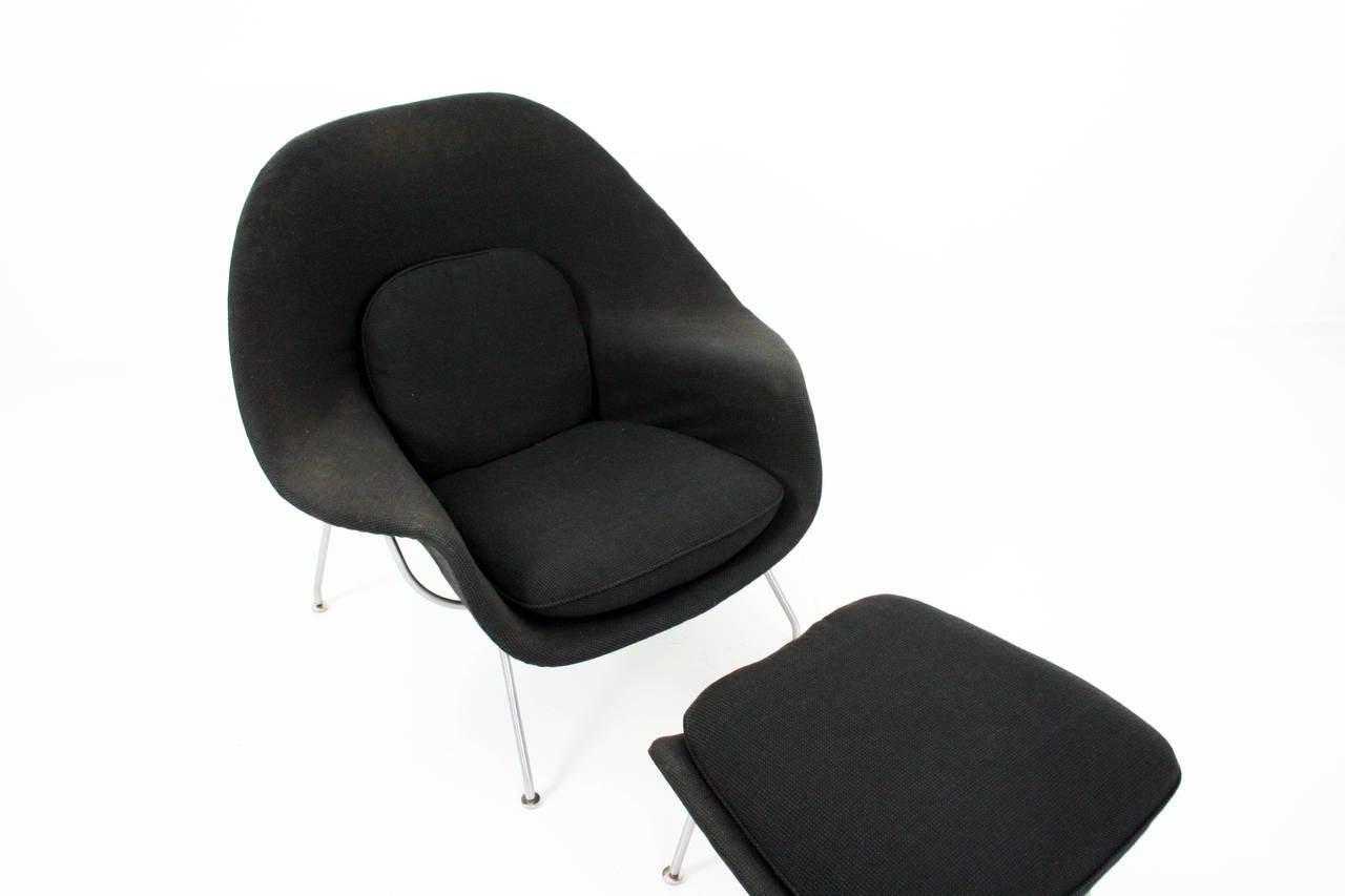Steel Eero Saarinen Womb Chair and Ottoman in Grey Knoll Cato Fabric