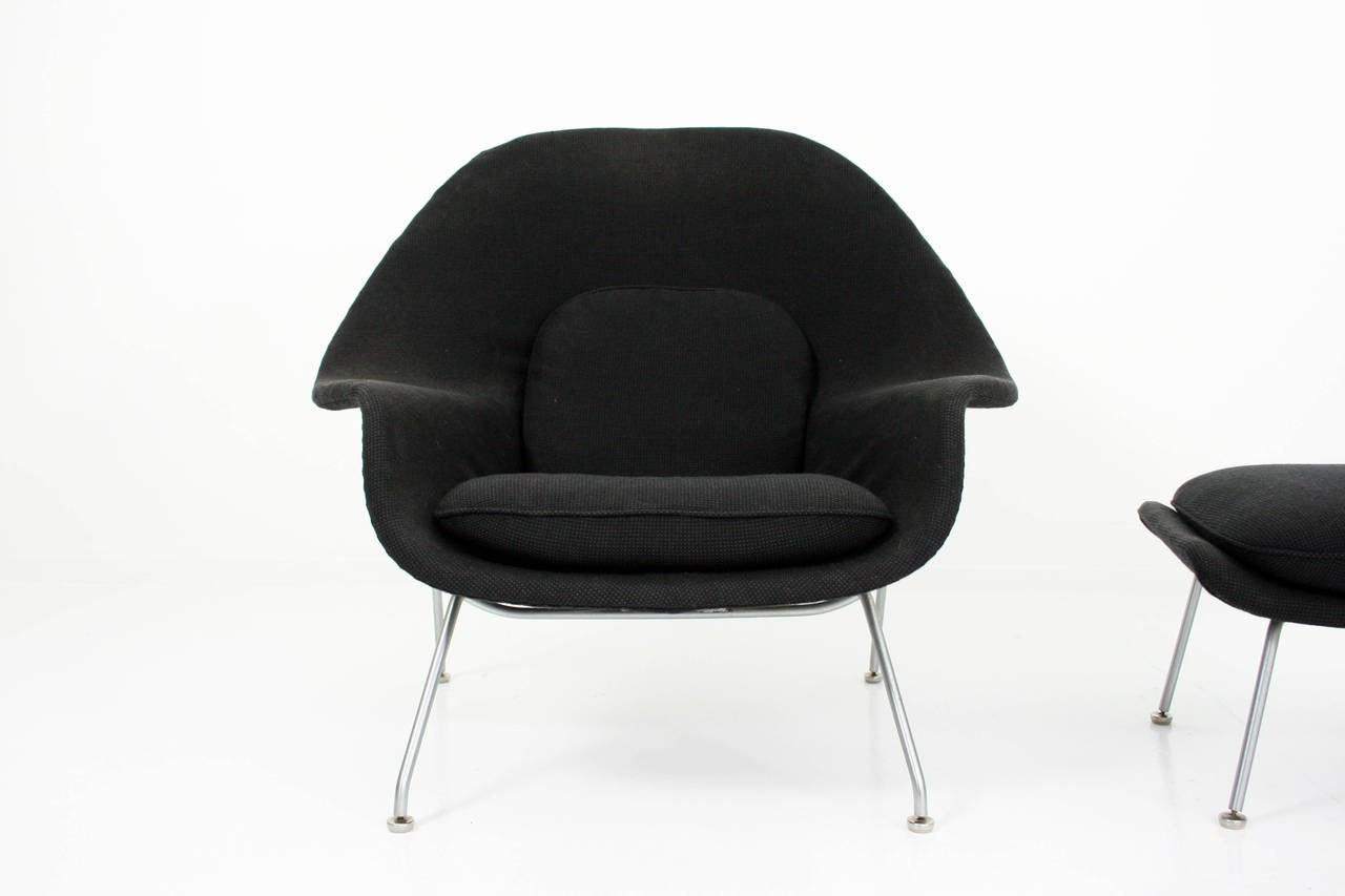 Knoll womb chair - Eero Saarinen Womb Chair And Ottoman In Grey Knoll Cato Fabric 3