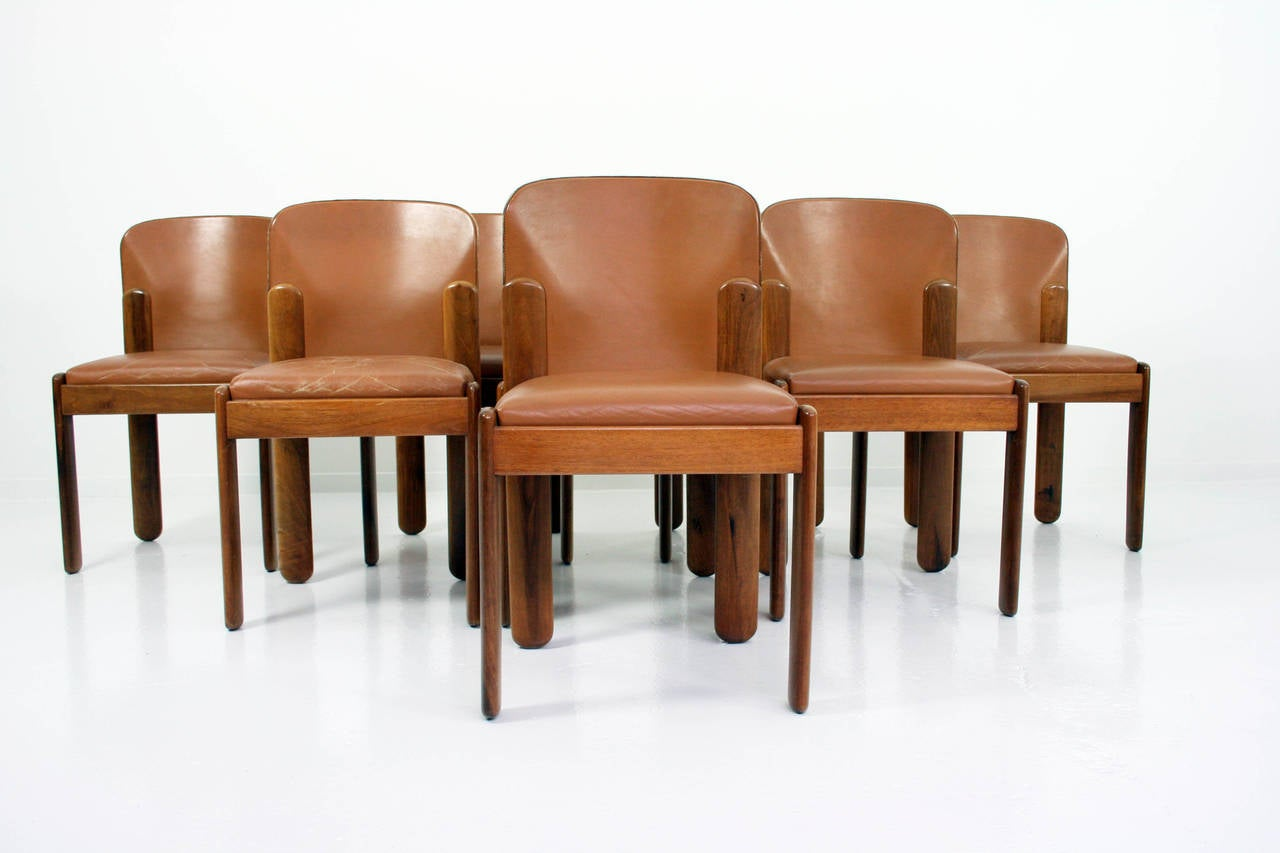 Silvio coppola set of eight italian walnut and leather for Modern leather dining room chairs