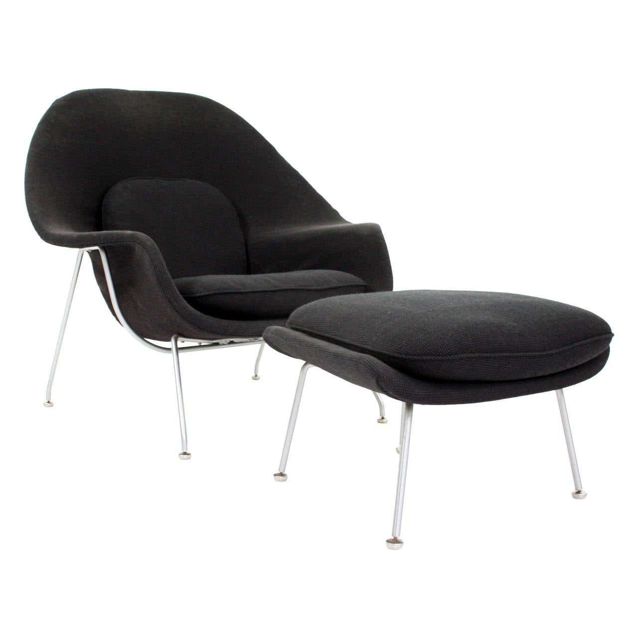 eero saarinen womb chair and ottoman in grey knoll cato fabric at 1stdibs. Black Bedroom Furniture Sets. Home Design Ideas