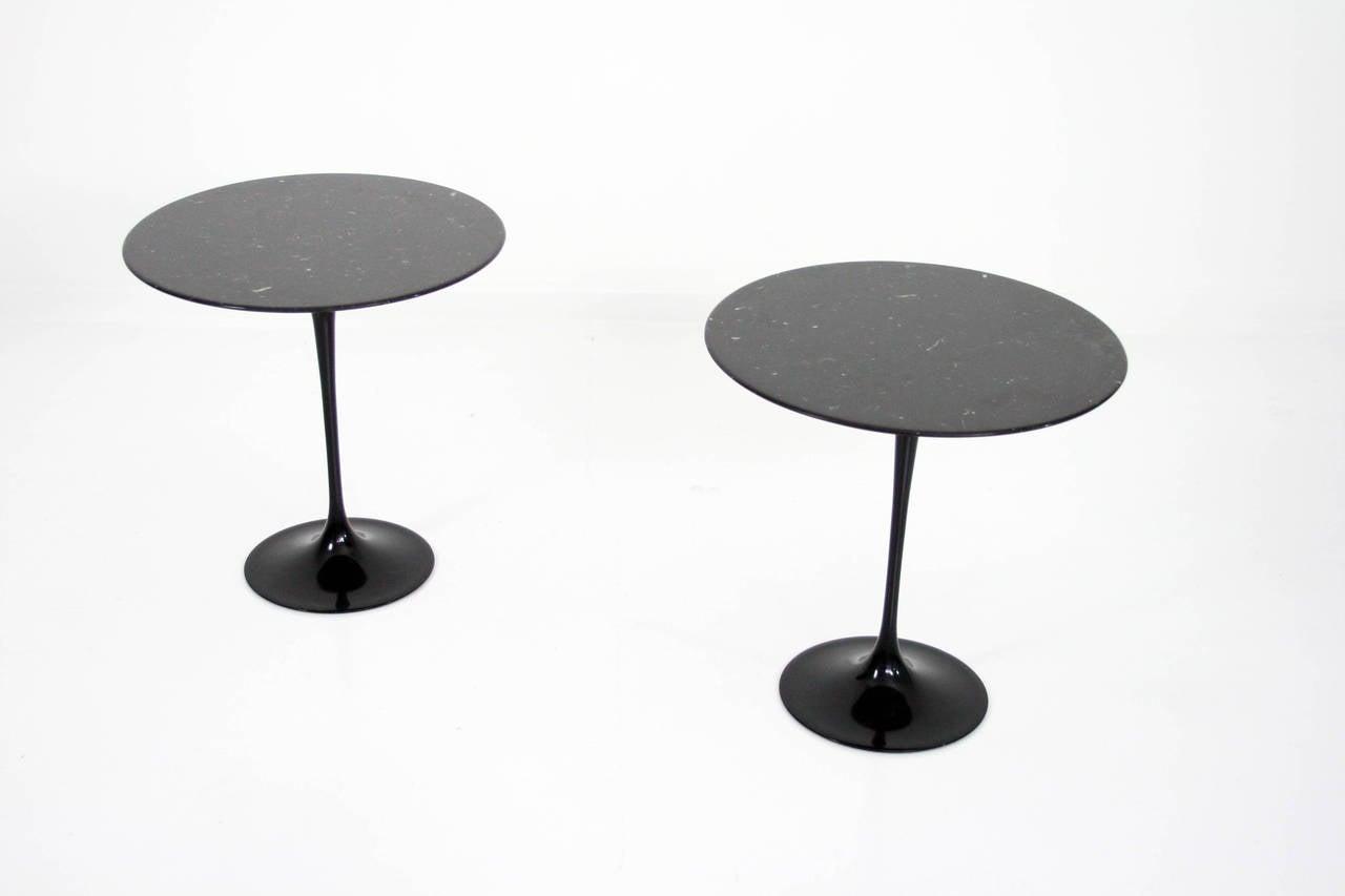 Pair Of Knoll Eero Saarinen Black Marble Top Tulip Tables At 1stdibs