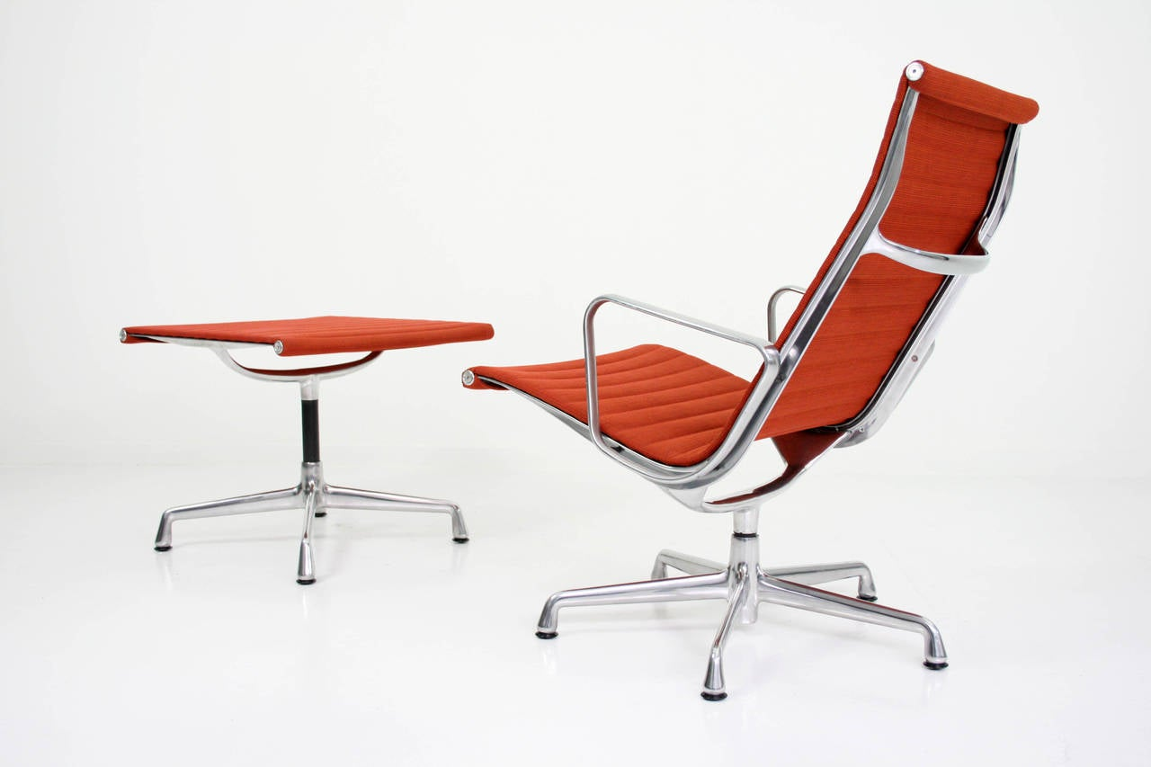 Charles Eames Aluminum Group Lounge Chair and Ottoman at 1stdibs