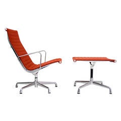 Charles Eames Aluminum Group Lounge Chair and Ottoman