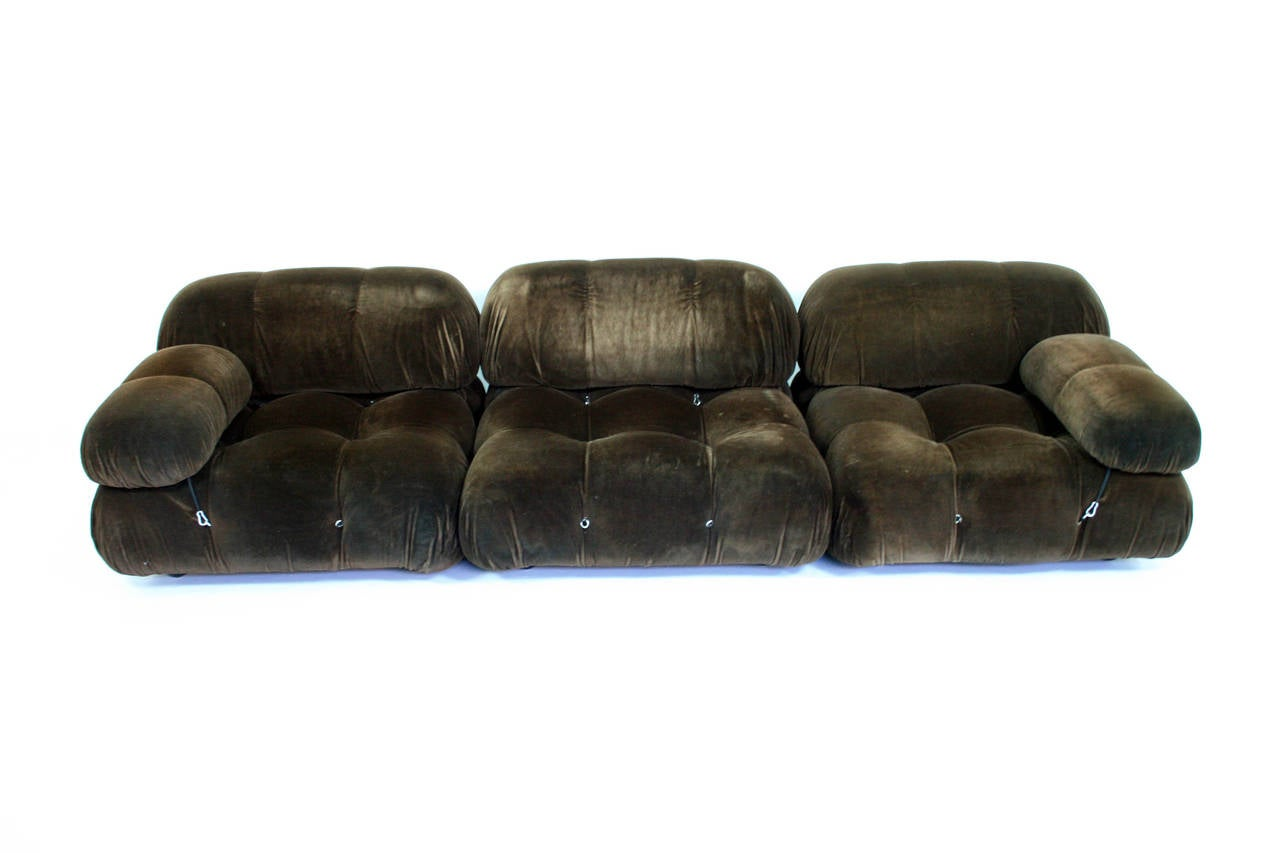 Exceptional piece designed by Mario Bellini for C&B Italia. 3 piece Camaleonda sofa system. Signed with decal manufacturer's label to underside.  Price below is for 3 piece set.    This early example comprising three large seating elements, three