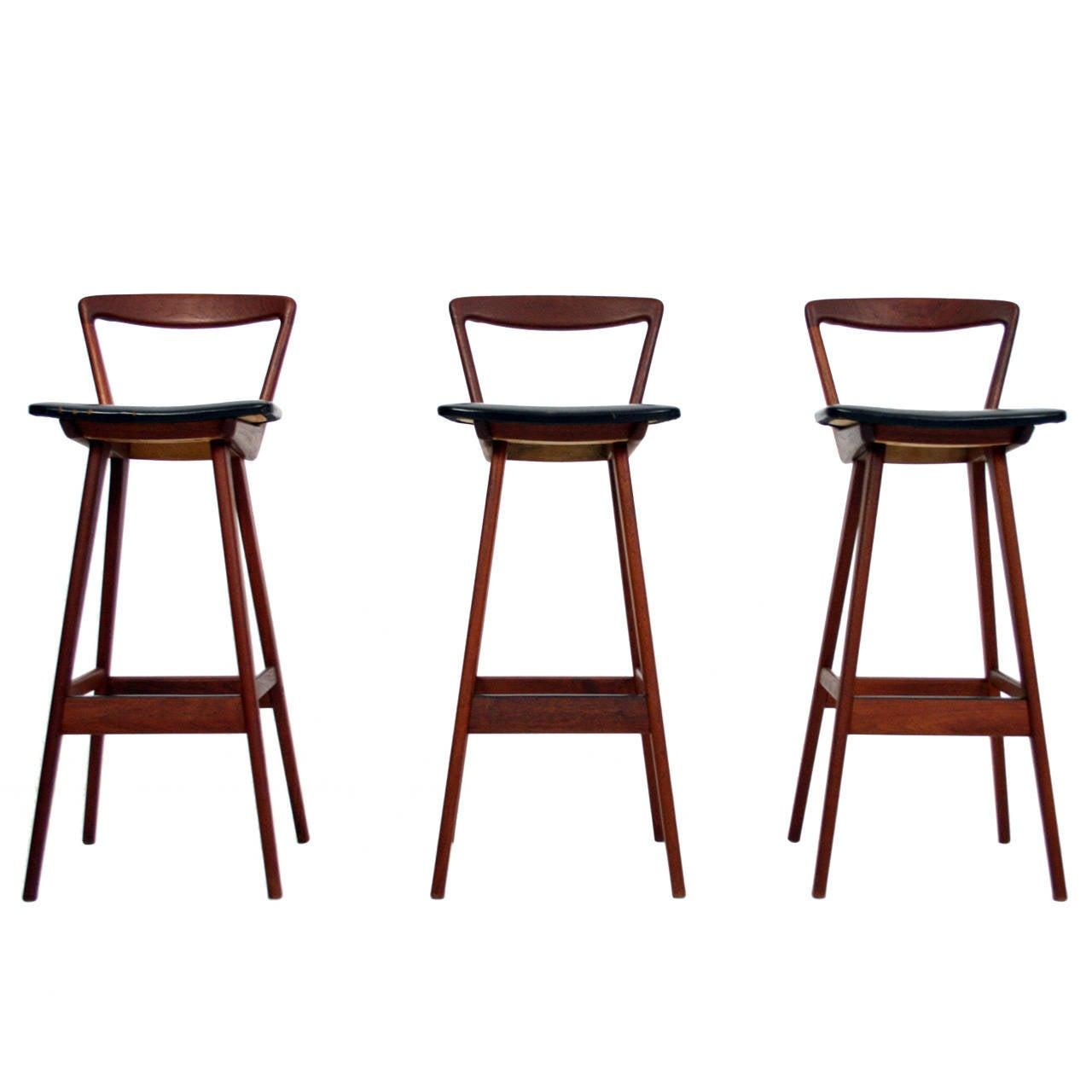 Rare Set Of Three Teak Bar Stools By Rosengren Hansen For