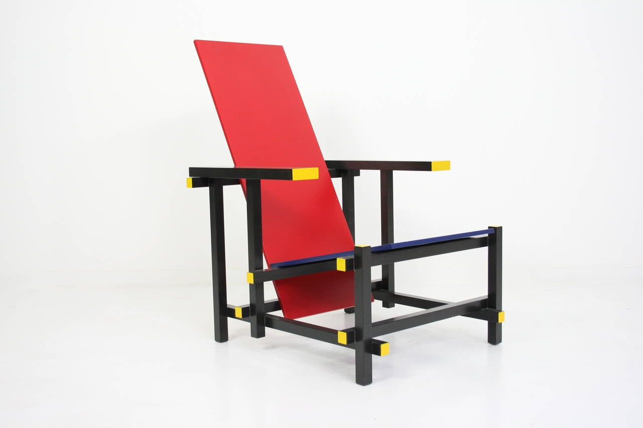 Mid-Century Modern Early Red and Blue Rietveld Chair for Cassina