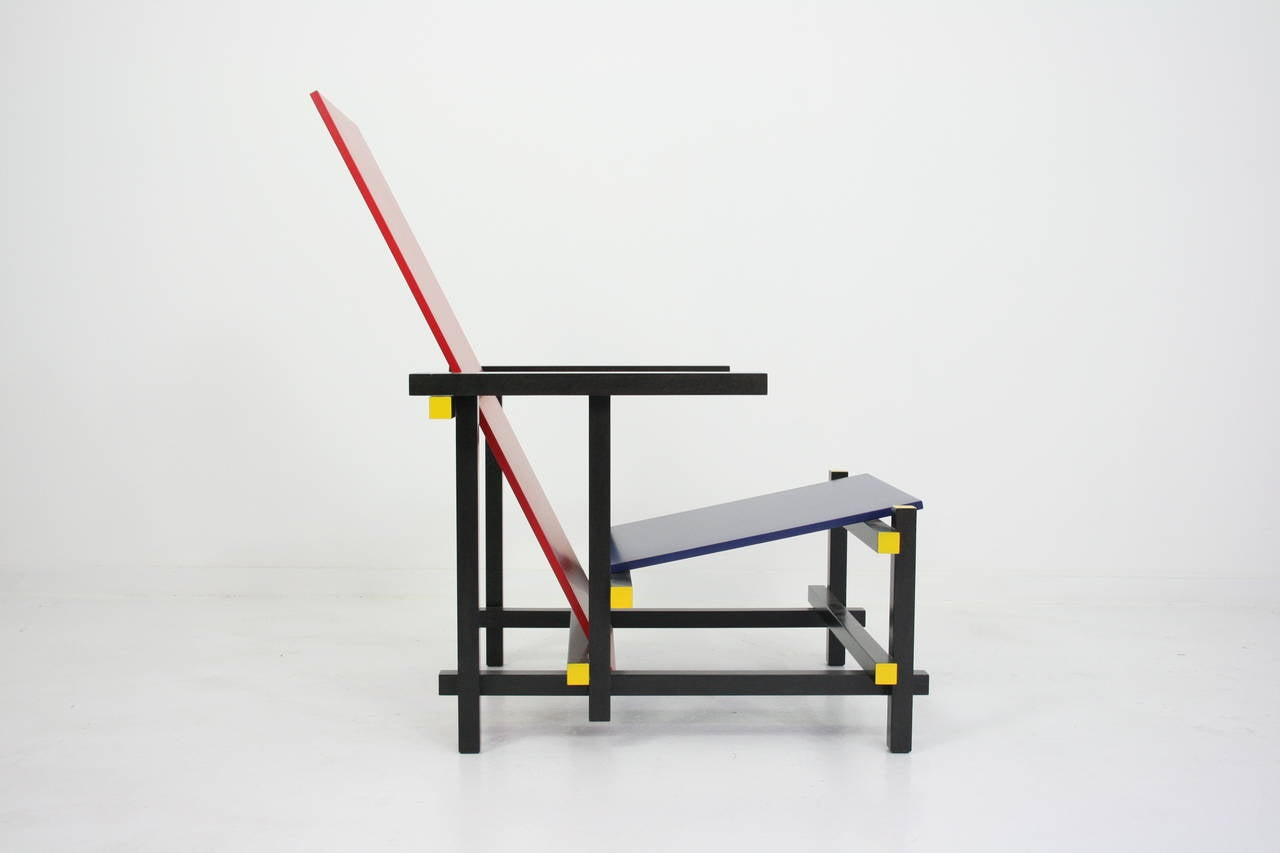 Italian Early Red and Blue Rietveld Chair for Cassina