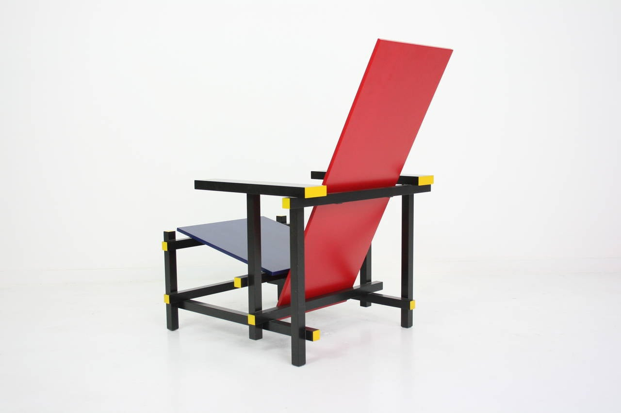Lacquered Early Red and Blue Rietveld Chair for Cassina