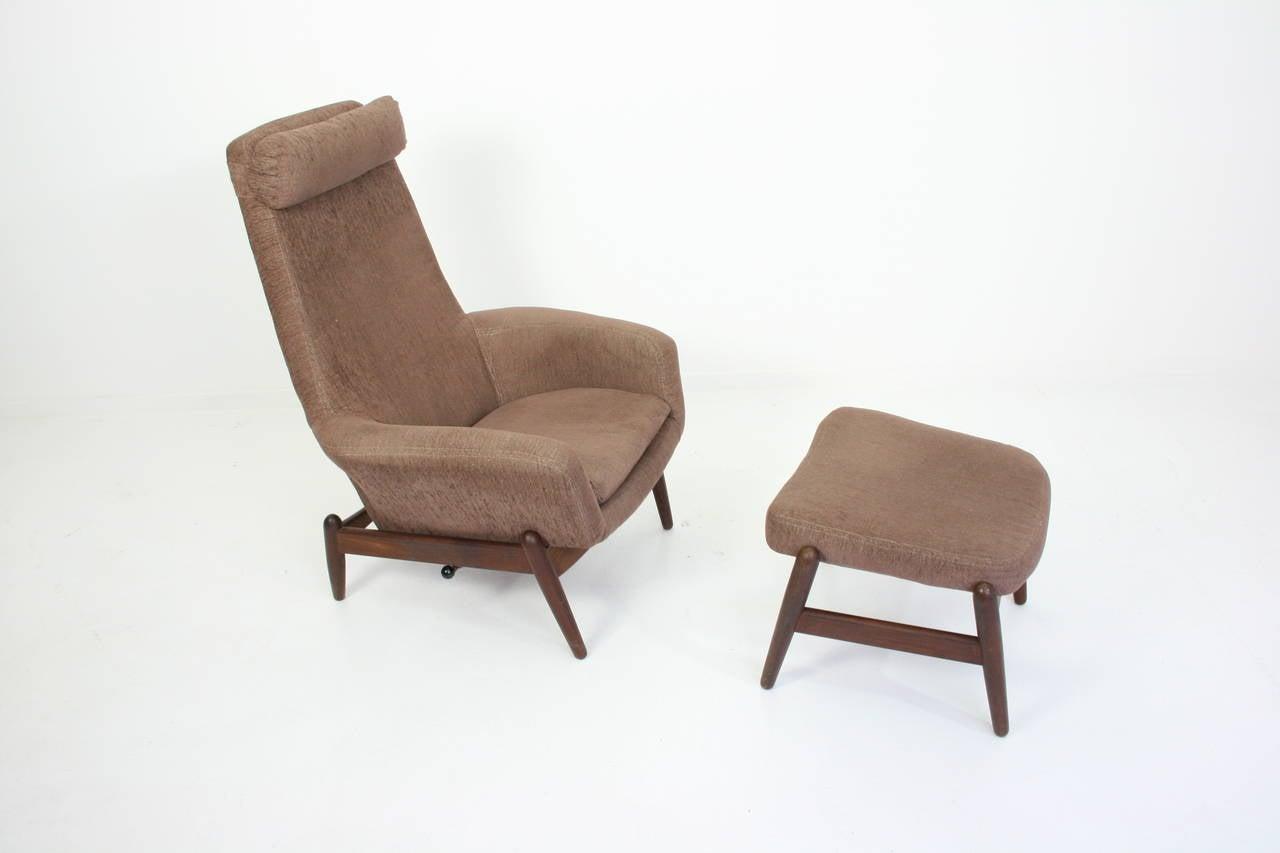 Ib Kofod Larsen Teak Mid Century Reclining Chair And Ottoman All Original A