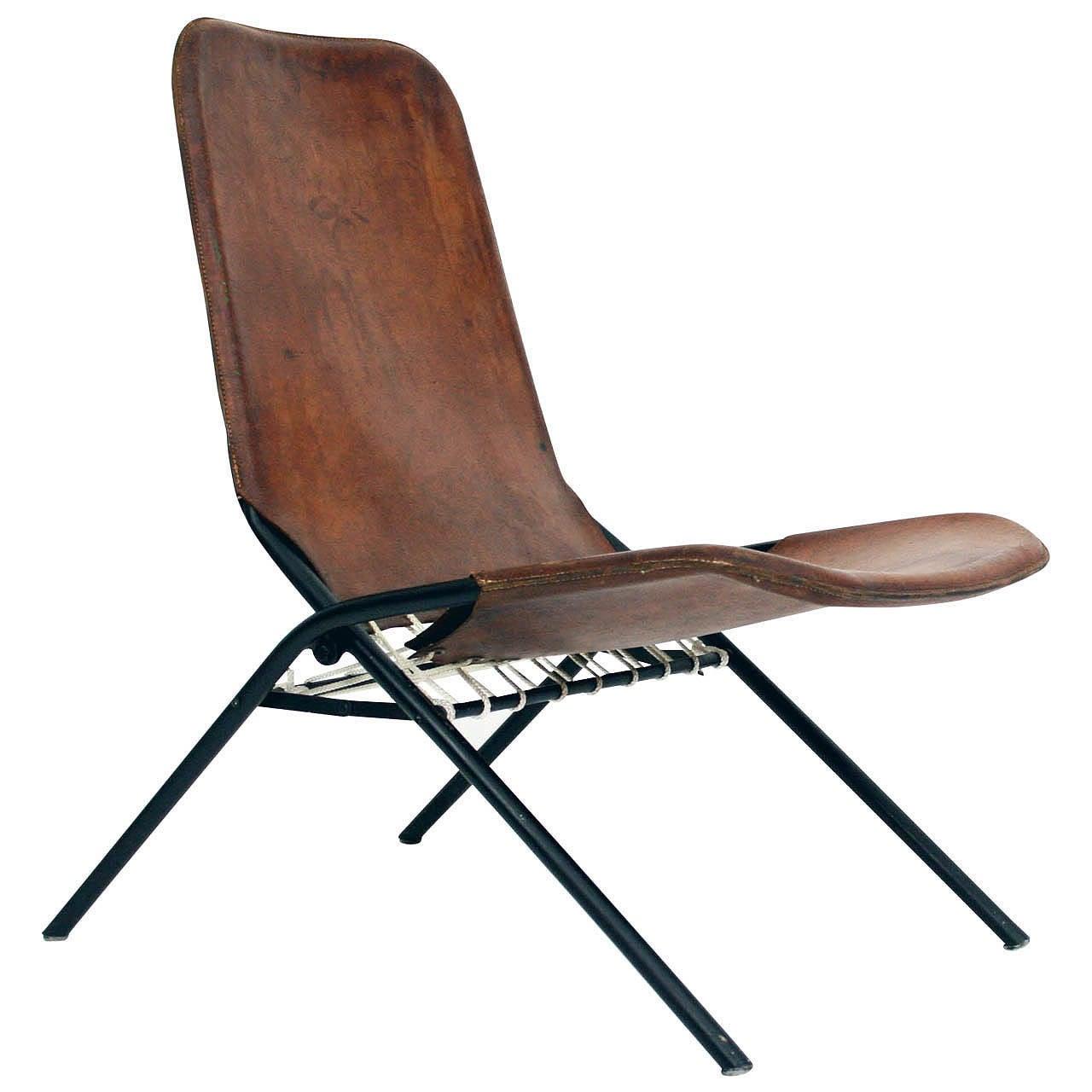 Rare 1950s Olof Pira Fällstol Folding Leather Lounge Chair
