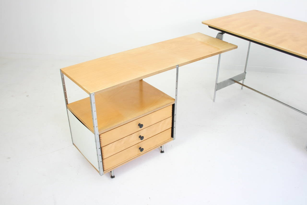 American Original Early Second Generation Eames Esu Desk With Return For