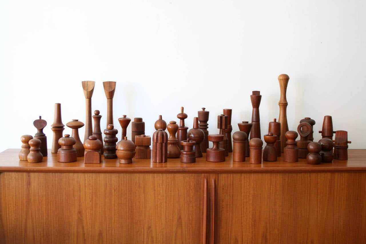 Amazing set of 39 Jens Quistgaard pepper mills in excellent condition and containing many rare examples. Twenty pepper mills have the Peugeot mechanisms. All look amazing.