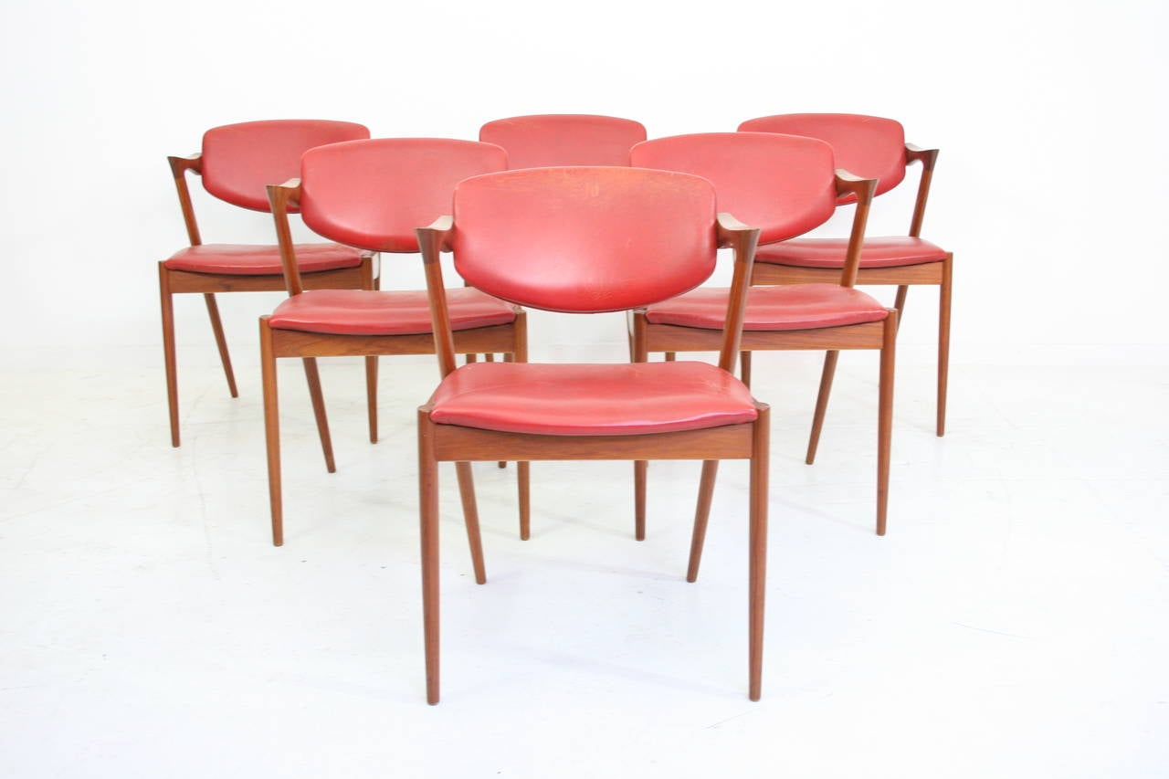 Set of six teak and leather dining 42 chairs by kai kristiansen at 1stdibs - Kai kristiansen chairs ...