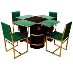 Rare 1970s Game Table and Four Chairs Signed Moneybello