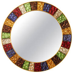 Spanish Mid-Century Modern Multi-Color Glass Framed Circular Mirror