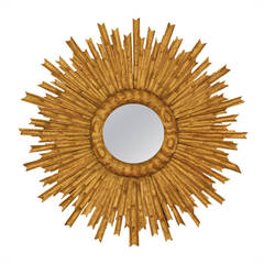 Spanish Giltwood Baroque Style Sunburst Mirror