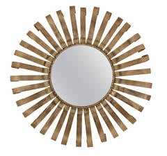 Brutalist Iron Sunburst Mirror with Grey Patina
