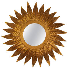 Vintage Gilt Metal Sunburst Mirror and Sconce