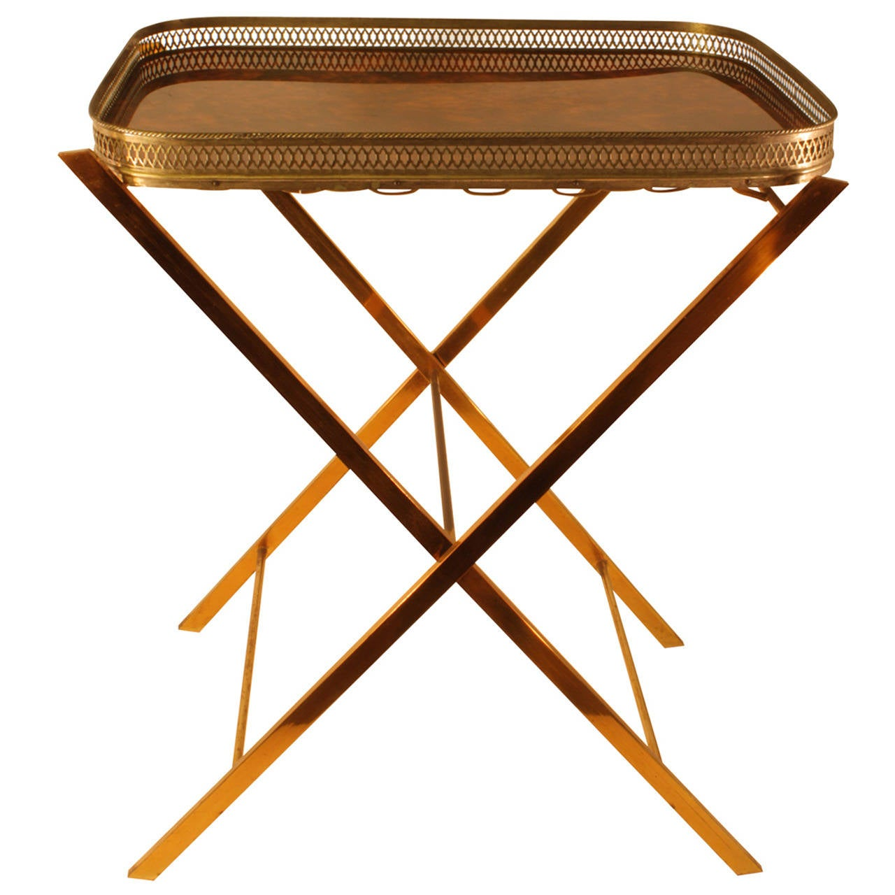"""Hollywood Regency Folding """"Faux Carey"""" and Brass Tray Side Table"""