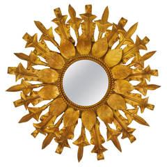 Spanish Gilt Iron Small Flower Burst Mirror, 1960s