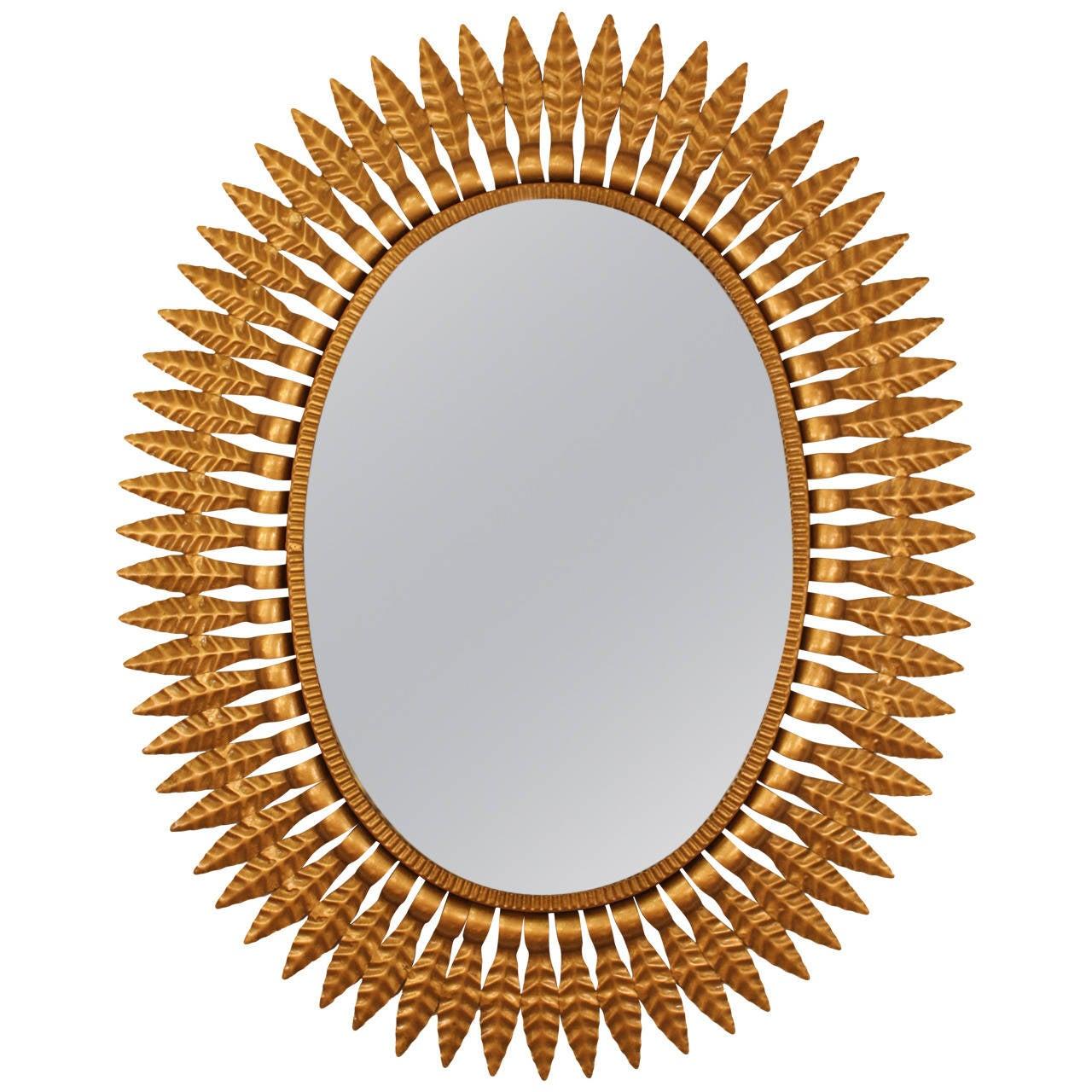 Hollywood regency gilt metal oval sunburst mirror spain for Sunburst mirror