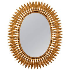 Hollywood Regency Gilt Metal  Oval Sunburst Mirror, Spain 1950s