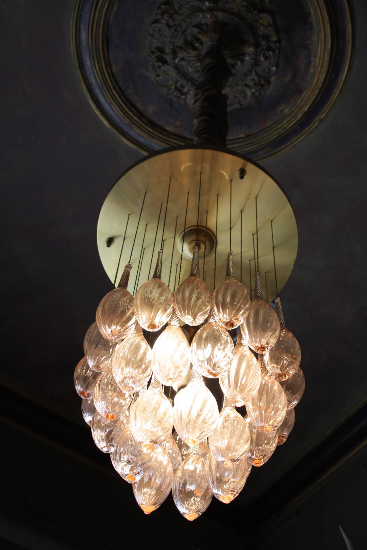 Italian Mid Century Modern Brass and Pink Murano Glass Teardrop