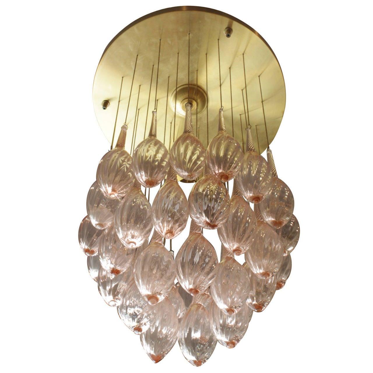 Italian Mid Century Modern Brass And Pink Murano Glass Teardrop Chandelier For