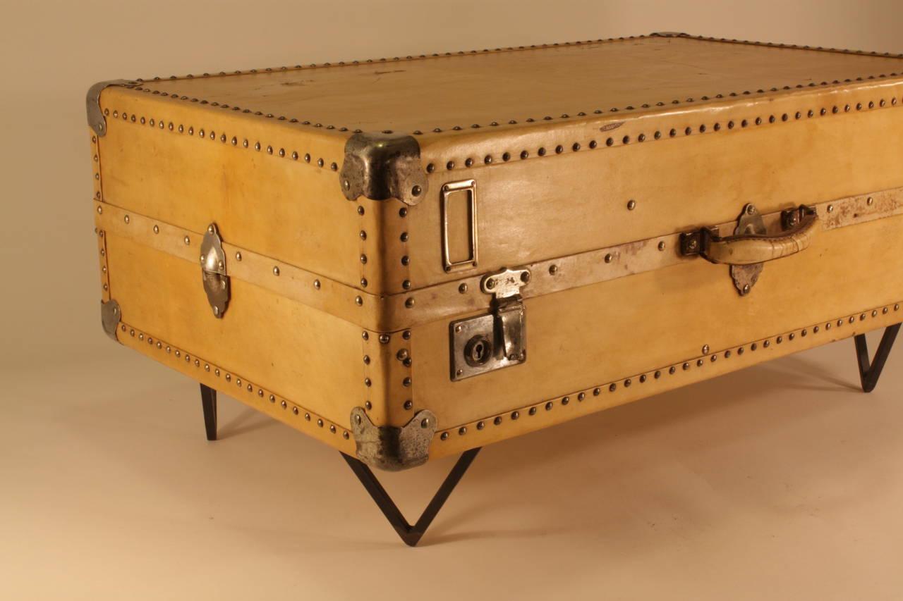 European Antique Parchment Suitcase Coffee Table