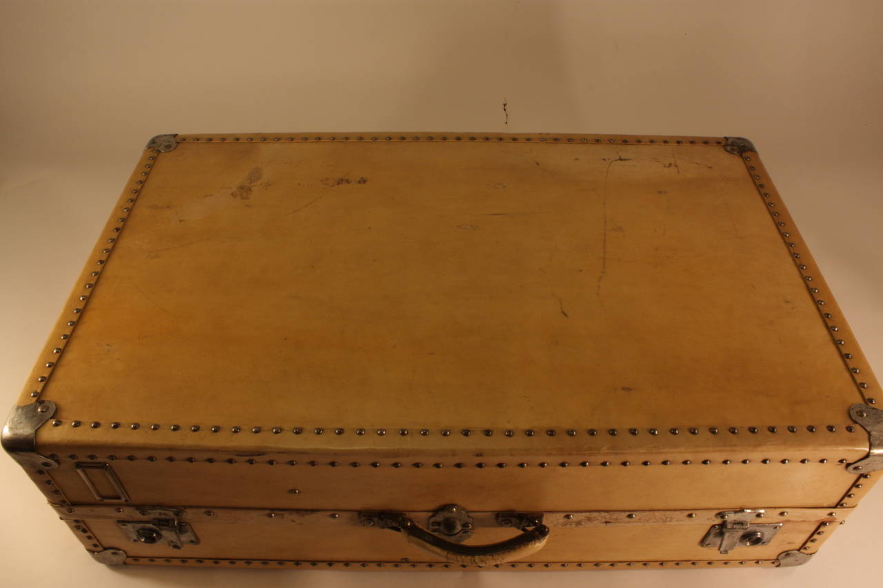 20th Century Antique Parchment Suitcase Coffee Table