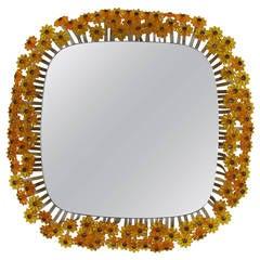 Emil Stejnar for Rupert Nikoll Amber Backlit Flower Mirror, Austria 1950s