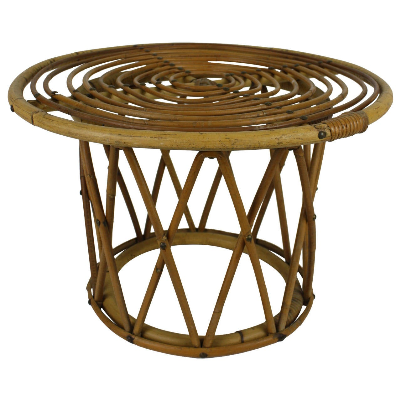 Spanish 1950s Handcrafted Bamboo and Rattan Coffee Table or Side Table