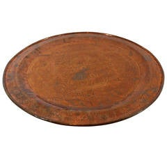 Early 20th Century Large Moroccan Copper Antique Tray with Islamic Designs