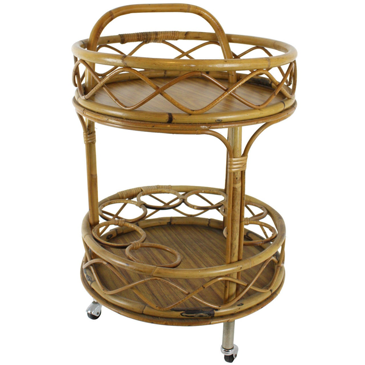 Spanish Round Bamboo Bar Cart For Sale