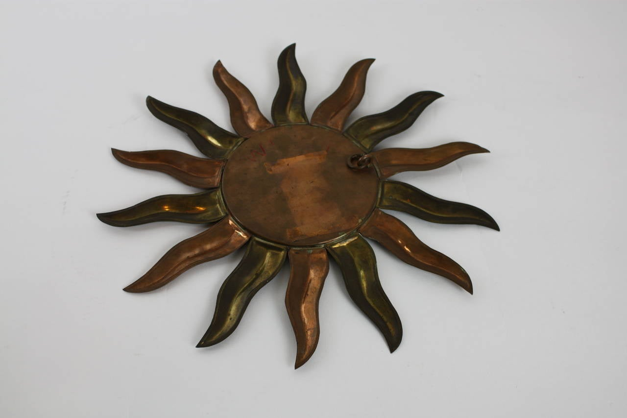 French Mid-Century Modern Copper and Brass Mini Sunburst Mirror For Sale 2
